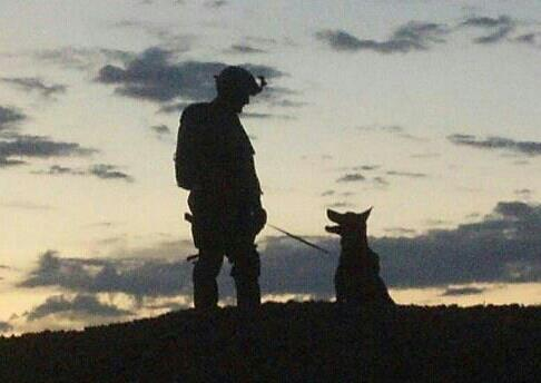 "MWD Bruno and Handler O share ""a moment"" at Creech AFB - ""These dogs, no matter what their specialty, are saving US troops,"" www.militaryworkingdogadoptions.com"